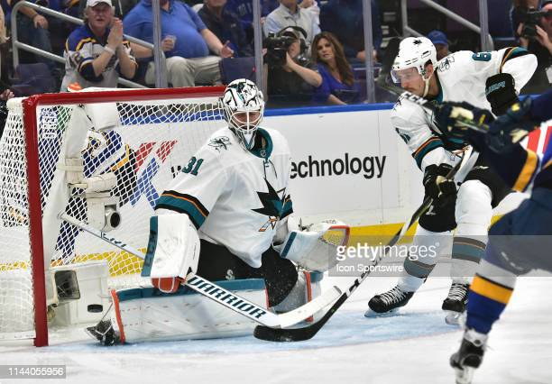 San Jose Sharks goaltender Martin Jones blocks a shot in the third period during a NHL Stanley Cup Playoffs Western Conference Final game three...