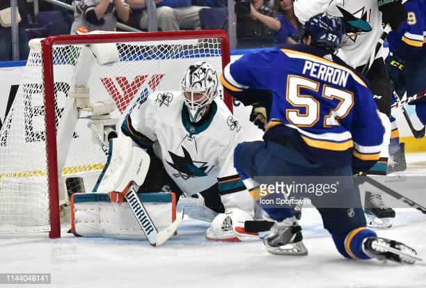 San Jose Sharks goaltender Martin Jones blocks a shot on goal by St Louis Blues leftwing David Perron during a NHL Stanley Cup Playoffs Western...