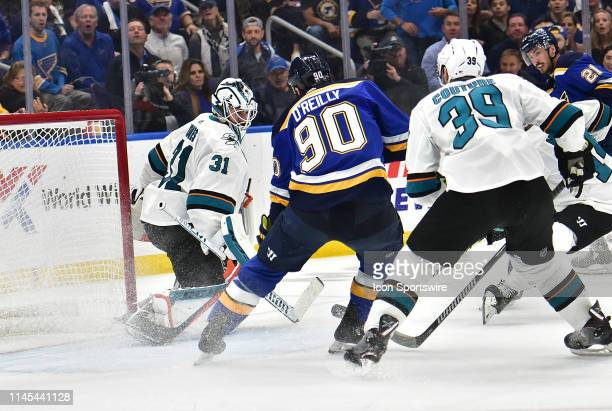 San Jose Sharks goaltender Martin Jones blocks a shot on goal by St Louis Blues center Ryan O'Reilly during game six of the NHL Western Conference...