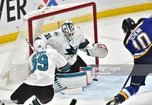 San Jose Sharks goaltender Martin Jones blocks a shot on goal by St Louis Blues center Brayden Schenn during game six of the NHL Western Conference...