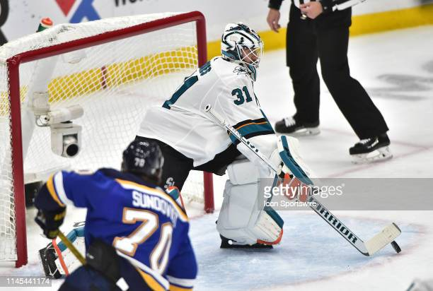 San Jose Sharks goaltender Martin Jones blocks a shot on goal during game six of the NHL Western Conference Final between the San Jose Sharks and the...