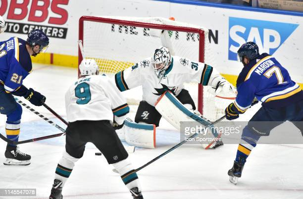 San Jose Sharks goaltender Martin Jones blocks a shot on goal in the second period during game six of the NHL Western Conference Final between the...
