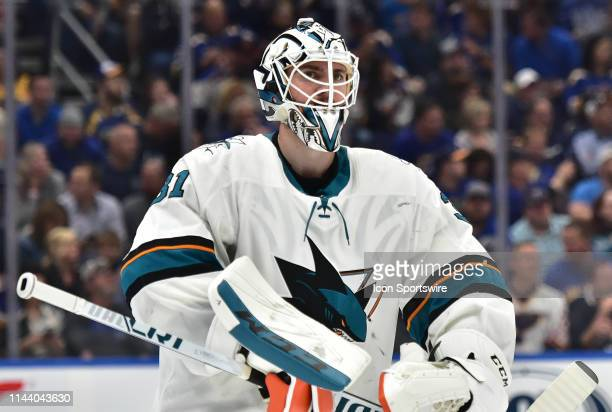 San Jose Sharks goaltender Martin Jones during a NHL Stanley Cup Playoffs Western Conference Final game three between the San Jose Sharks and the St...