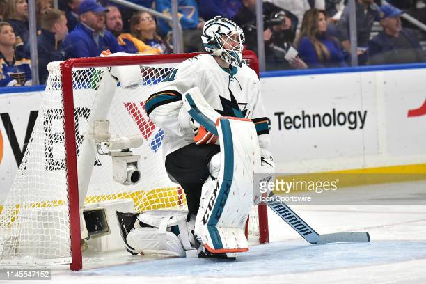 San Jose Sharks goaltender Martin Jones during game six of the NHL Western Conference Final between the San Jose Sharks and the St Louis Blues on May...