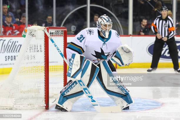 San Jose Sharks goaltender Martin Jones during the National Hockey League game between the New Jersey Devils and the San Jose Sharks on February 20...