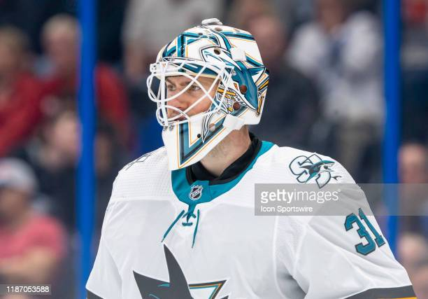 San Jose Sharks goaltender Martin Jones during the NHL Hockey match between the Lightning and San Jose Sharks on December 7 2019 at Amalie Arena in...