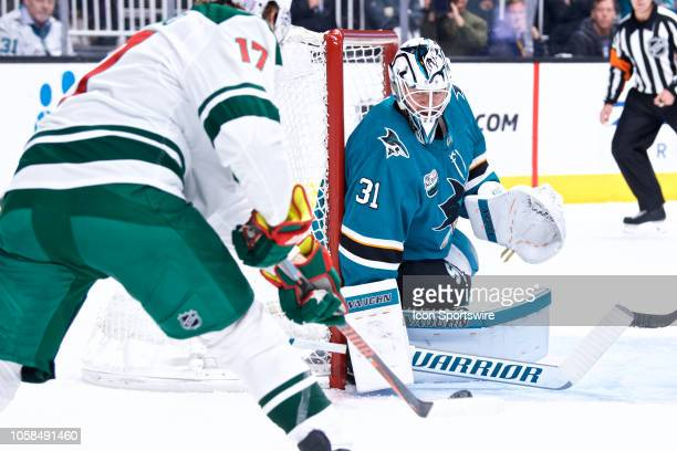 San Jose Sharks goaltender Martin Jones during the San Jose Sharks game versus the Minnesota Wild on November 6 at SAP Center in San Jose CA