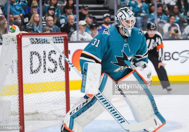 San Jose Sharks goaltender Martin Jones during the Stanley Cup Playoffs game between the San Jose Sharks and the Colorado Avalanche on April 28 2019...