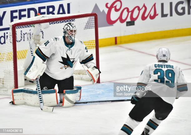 San Jose Sharks goaltender Martin Jones gives up a goal in the second period during a NHL Stanley Cup Playoffs Western Conference Final game three...