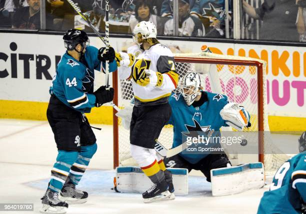 San Jose Sharks goaltender Martin Jones guards the goal as a puck sails towards him during the NHL stanley cup playoffs second round game between the...