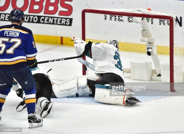 San Jose Sharks goaltender Martin Jones looks back as St Louis Blues center Brayden Schenn scores a power play goal for the Blues during game six of...