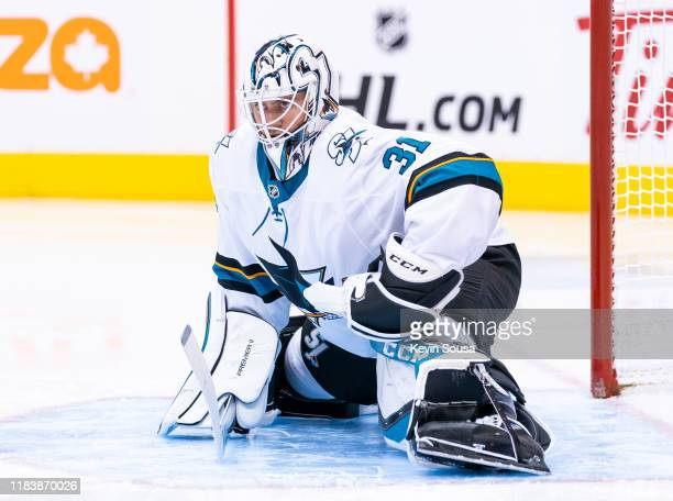 San Jose Sharks goaltender Martin Jones looks on against the Toronto Maple Leafs during the first period at the Scotiabank Arena on October 25 2019...
