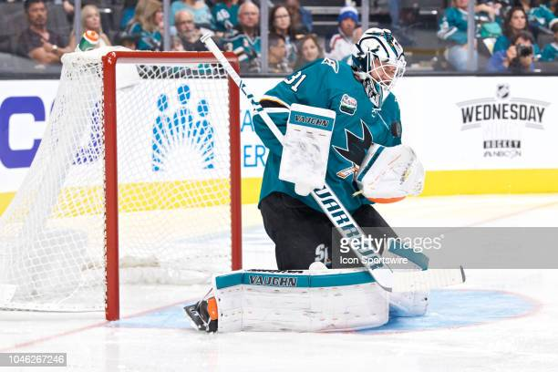 San Jose Sharks goaltender Martin Jones makes a save during the San Jose Sharks game versus the Anaheim Ducks on October 3 at SAP Center at San Jose...