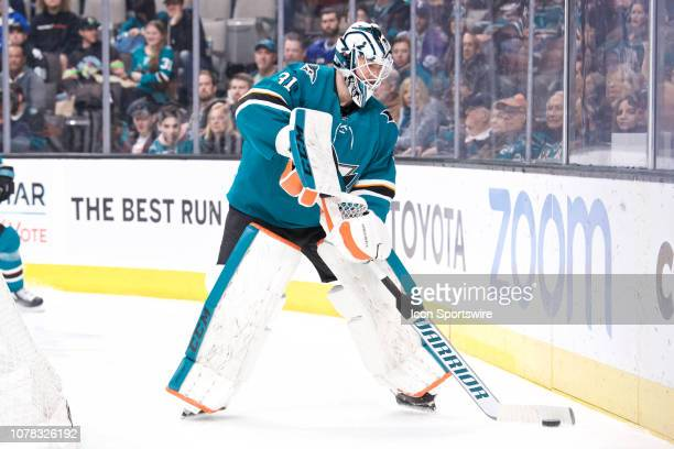 San Jose Sharks goaltender Martin Jones plays the puck behind his net during the San Jose Sharks game versus the Tampa Bay Lightning on January 5 at...