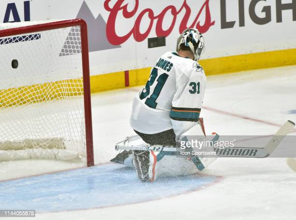 San Jose Sharks goaltender Martin Jones reacts as the Blues score in the second period during a NHL Stanley Cup Playoffs Western Conference Final...
