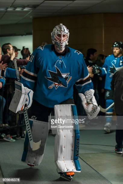 San Jose Sharks goaltender Martin Jones walks down the tunnel to the ice before the regular season game between the San Jose Sharks and the Edmonton...
