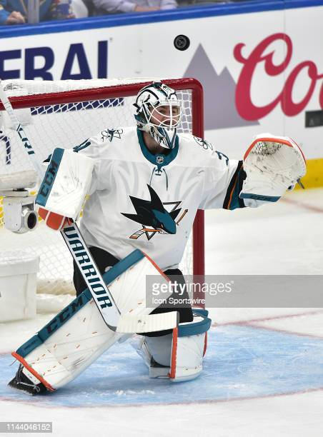 San Jose Sharks goaltender Martin Jones watches as the puck bounces off of him during a NHL Stanley Cup Playoffs Western Conference Final game three...