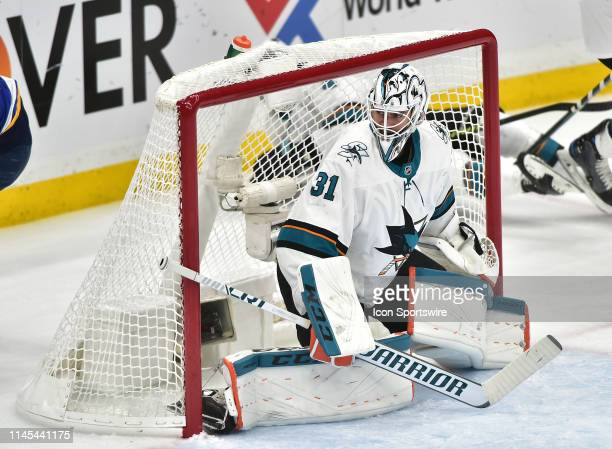 San Jose Sharks goaltender Martin Jones watches the puck in the first half during game six of the NHL Western Conference Final between the San Jose...