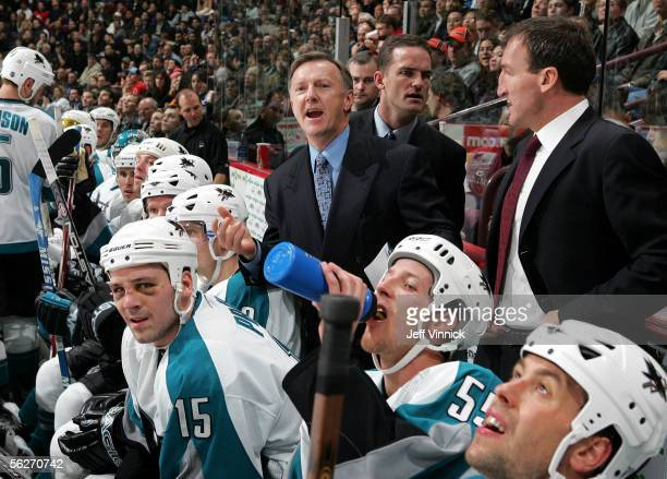 San Jose Sharks head coach Ron Wilson yells at a referee after a Shark goal late in the game against the Vancouver Canucks was disallowed during...