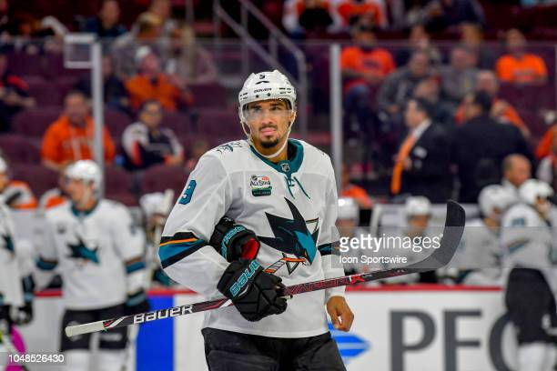 San Jose Sharks left wing Evander Kane looks on during the NHL game between the San Jose Sharks and the Philadelphia Flyers on October 09 2018 at the...