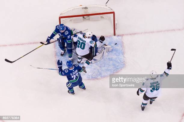 San Jose Sharks Left Wing Marcus Sorensen celebrates after scoring a goal on Vancouver Canucks Goalie Jacob Markstrom during their NHL game at Rogers...
