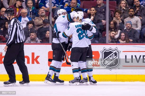 San Jose Sharks Left Wing Marcus Sorensen is congratulated after scoring a goal during their NHL game against the Vancouver Canucks at Rogers Arena...