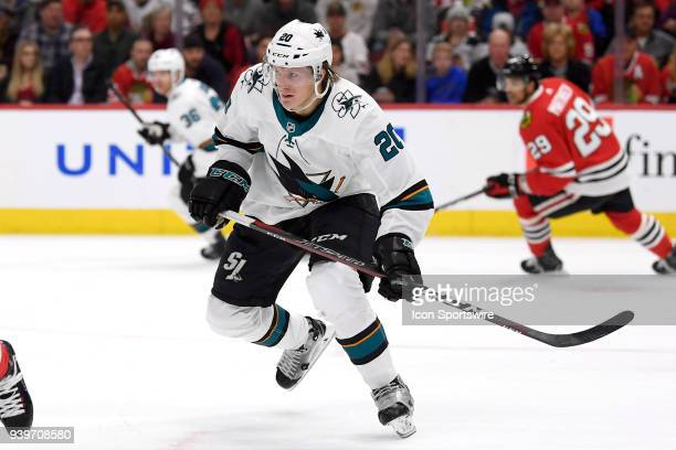 San Jose Sharks left wing Marcus Sorensen skates in action during a game between the Chicago Blackhawks and the San Jose Sharks on March 26 at the...
