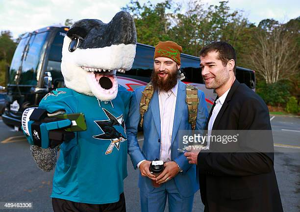 San Jose Sharks mascot Sharkie takes a selfie with Brent Burns and Patrick Marleau of the San Jose Sharks during Day 3 of NHL Kraft Hockeyville at...
