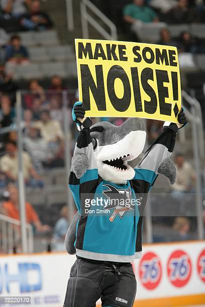 San Jose Sharks mascot SJ Sharkie entertains the crowd prior to a preseason game against the Vancouver Canucks on September 21 2006 at the HP...