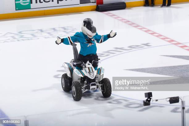San Jose Sharks mascot SJ Sharkie excites the crowd during the game against the Arizona Coyotes at SAP Center on January 13 2018 in San Jose...