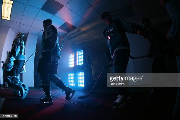 San Jose Sharks players walk from their lockerroom to the ice prior to Game 2 of the Western Conference Semifinals against the Edmonton Oilers on May...