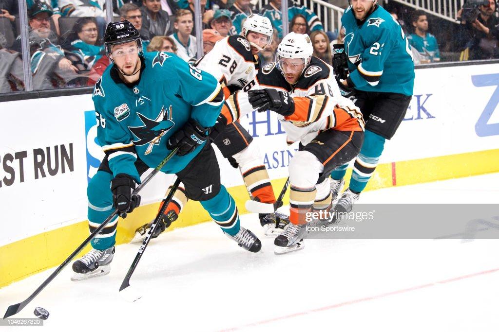 NHL: OCT 03 Ducks at Sharks : News Photo