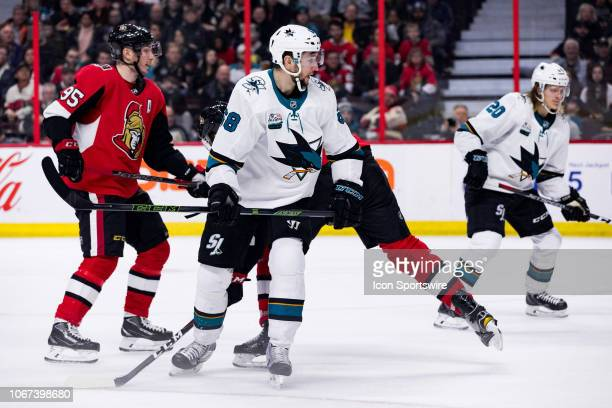 San Jose Sharks Right Wing Melker Karlsson focuses on the action during second period National Hockey League action between the San Jose Sharks and...