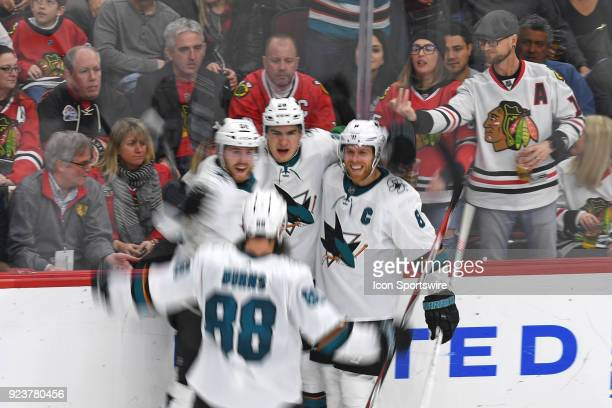 San Jose Sharks right wing Timo Meier celebrates his goal in the third period during a game between the Chicago Blackhawks and the San Jose Sharks on...