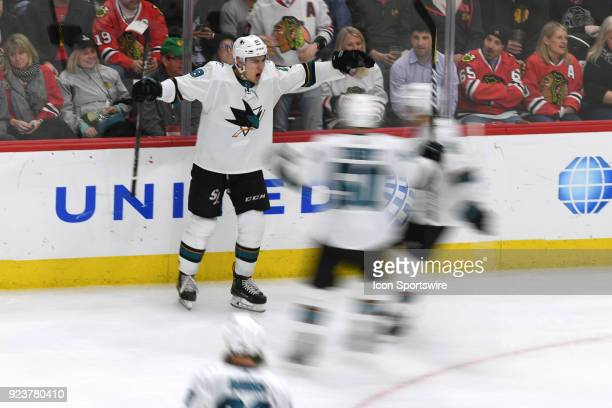 San Jose Sharks right wing Timo Meier celebrates his goal with teammates in the third period during a game between the Chicago Blackhawks and the San...