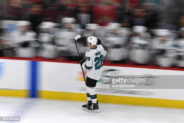 San Jose Sharks right wing Timo Meier celebrates his goal with the bench in the third period during a game between the Chicago Blackhawks and the San...