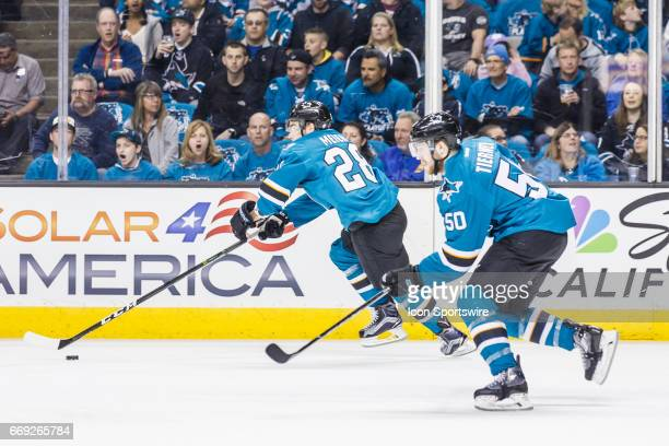San Jose Sharks right wing Timo Meier moves up ice with the puck during the first period of the Round 1 Game 3 between the Edmonton Oilers and the...