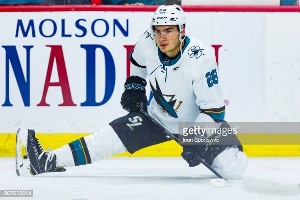 San Jose Sharks Right Wing Timo Meier stretches during warmup before National Hockey League action between the San Jose Sharks and Ottawa Senators on...