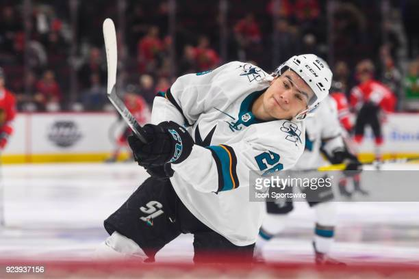 San Jose Sharks right wing Timo Meier warms up prior to a game between the Chicago Blackhawks and the San Jose Sharks on February 23 at the United...
