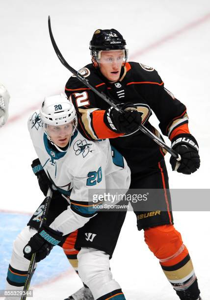 San Jose Sharks rightwing Marcus Sorensen and Anaheim Ducks defenseman Josh Manson in action during the first period of a game played on September 28...
