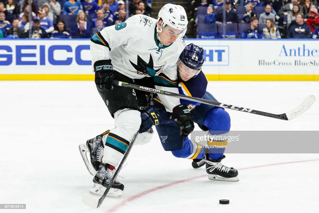 San Jose Sharks' Timo Meier, left, fights for the puck against St. Louis Blues' Vince Dunn during the third period of an NHL hockey game. The San Jose Sharks defeated the St. Louis Blues 3-2 on February 20, 2018, at Scottrade Center in St. Louis, MO.