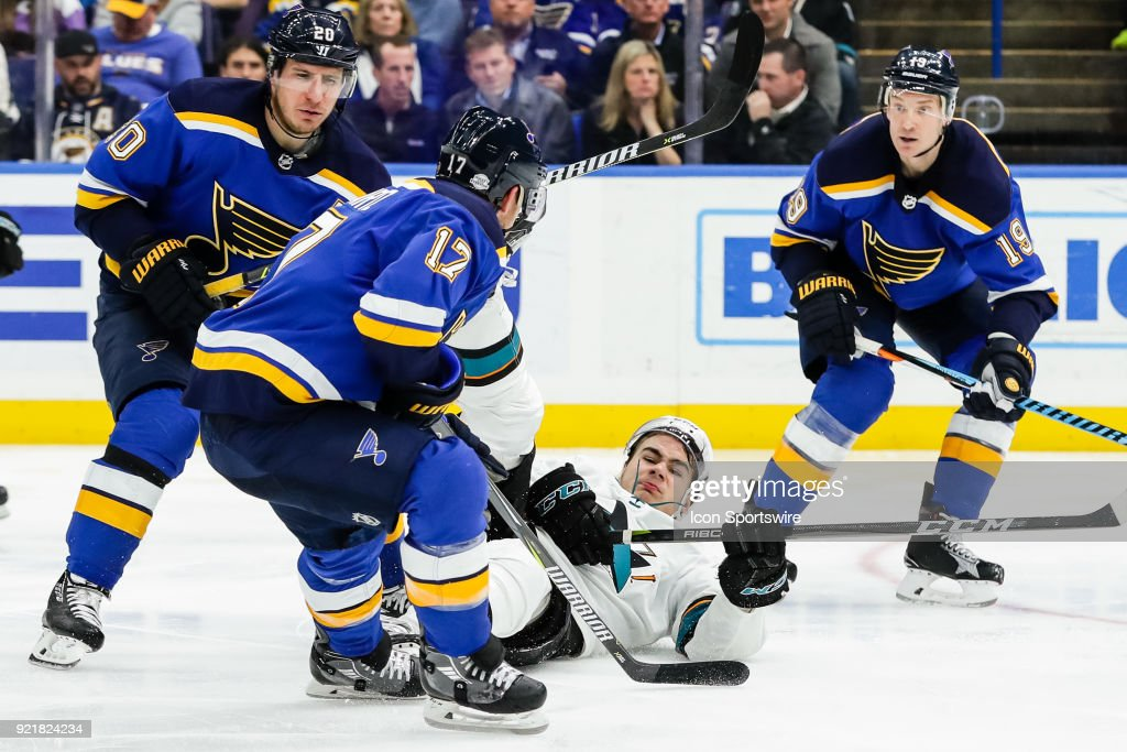 San Jose Sharks' Timo Meier slides across the ice as St. Louis Blues' Jaden Schwartz, left, looks on during the third period of an NHL hockey game. The San Jose Sharks defeated the St. Louis Blues 3-2 on February 20, 2018, at Scottrade Center in St. Louis, MO.