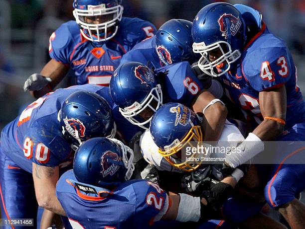 San Jose State running back Dominique Hunsucker is stopped by the Boise State defense The Broncos defeated the Spartans 427 on Saturday November 3 at...