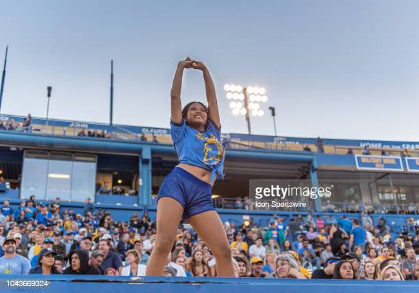 San Jose State Spartans cheerleader leads a cheer during the game between the Hawaii Warriors and the San Jose State Spartans on Saturday September...