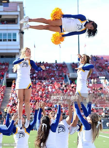 San Jose State Spartans cheerleaders perform during the team's game against the UNLV Rebels at Sam Boyd Stadium on November 2 2013 in Las Vegas...