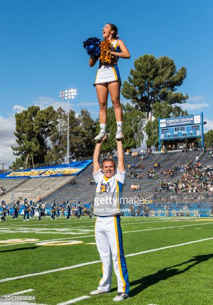 San Jose State Spartans cheerleaders start off with a cheer during the game between the Hawaii Warriors and the San Jose State Spartans on Saturday...