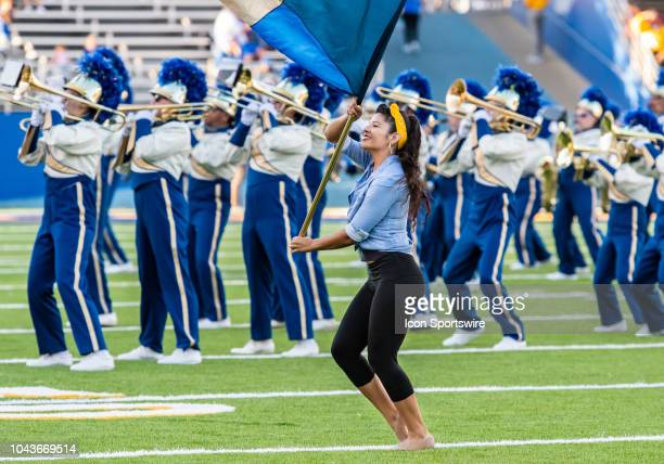 San Jose State Spartans color guard performs with the SJSU band during halftime of the game between the Hawaii Warriors and the San Jose State...