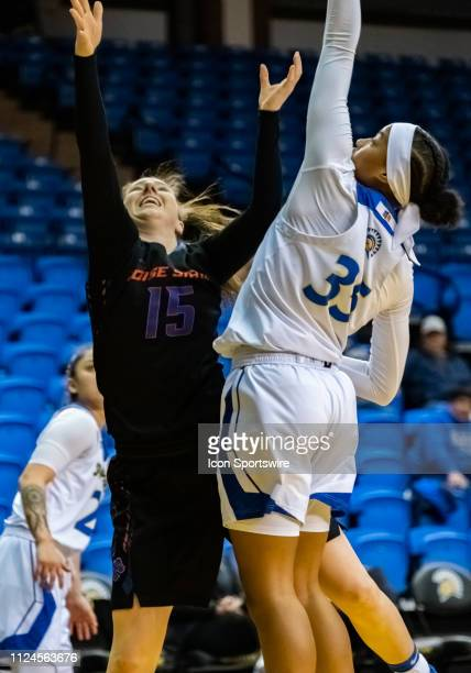 San Jose State Spartans forward Cydni Lewis puts up a shot over Boise State Broncos forward Tess Amundsen during the game between the San Jose State...