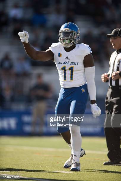 San Jose State Spartans linebacker William Ossai celebrates and signals a 0 yard gain for nevada during the college football game between the San...