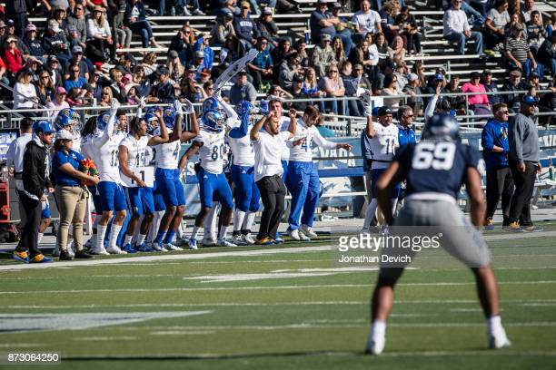 San Jose State Spartans players try to distract Nevada Wolf Pack players during the game at Mackay Stadium on November 11 2017 in Reno Nevada